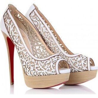 shoes wedding lace pattern floral pattern wood heels