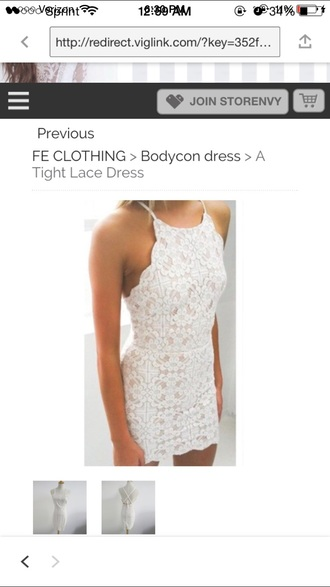 dress white lace scalloped cute