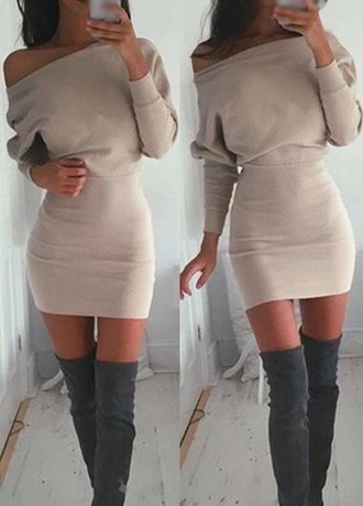 dress camel dress thigh-high boots baggy smooth grey boots sexy dress sexy boots love sexy trendy
