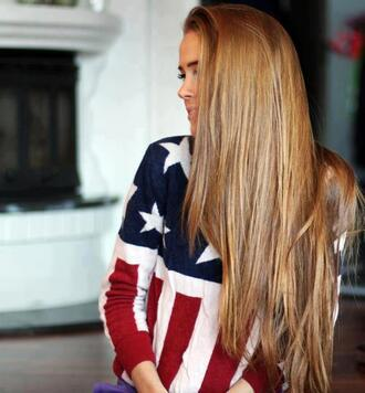 sweater america girl pretty red white blue stars stripes american flag swag winter sweater t-shirt cute merica flag baggy oversized sweater shirt patriotic