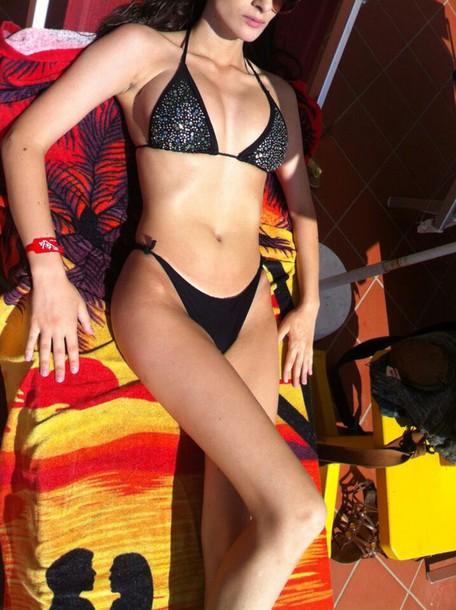 swimwear black bikini hot bikini stone bikini big boobs bikini