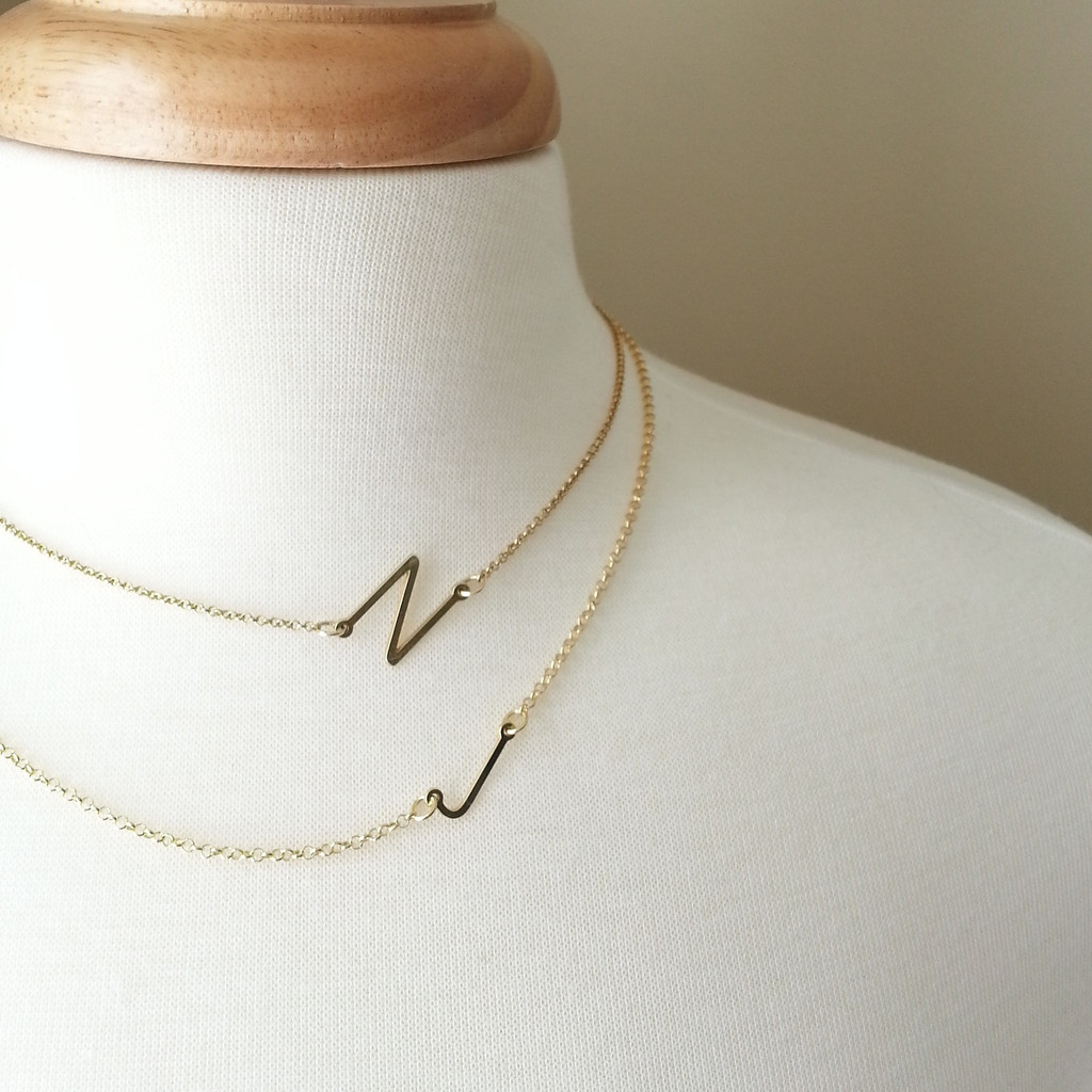 Sideways Initial Necklace, Gold