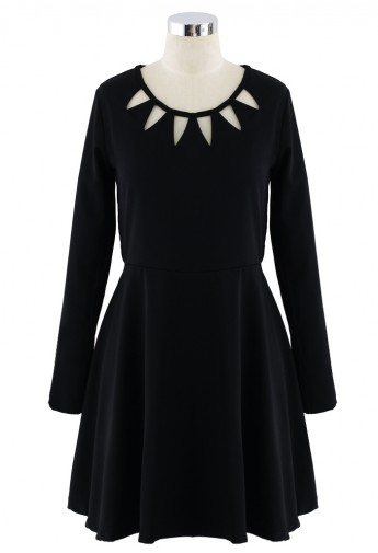 Black Cut Out Neckline Dress - Retro, Indie and Unique Fashion