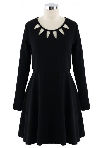 Black Cut Out Neckline Dress - Retro, Indie and Unique Fashion