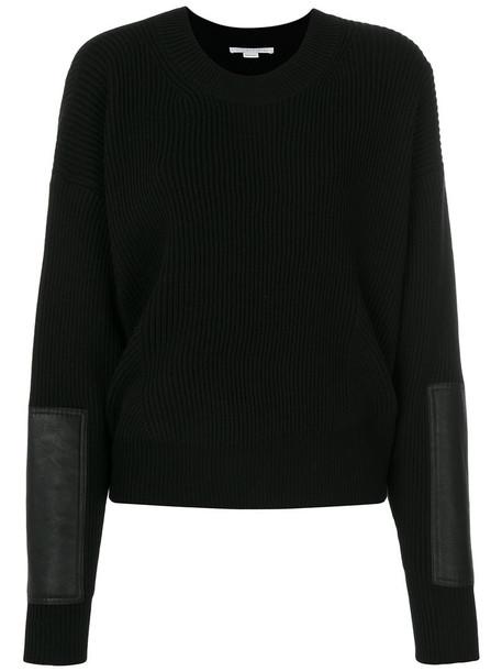 Stella McCartney - ribbed crew neck sweater - women - Polyester/Virgin Wool - 38, Black, Polyester/Virgin Wool