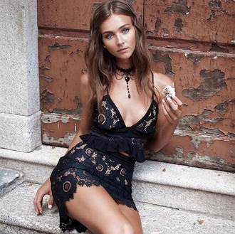 dress lace for love and lemons rachel cook black lace lace dress crop tops mini skirt set lace set boho chic boho outfit chic little black dress black lace set black lace dress lace crop top black lace crop top black skirt black lace skirt lace skirt ruffle crochet dress two piece dress set date dress