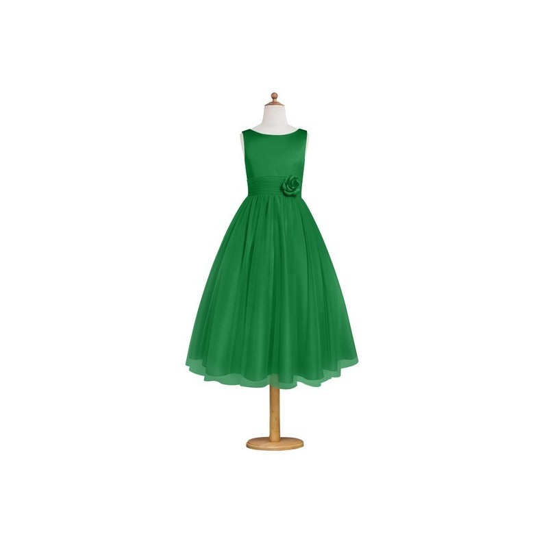 Emerald Azazie Rudy JBD - Back Zip Boatneck Tea Length Satin And Tulle Dress - Charming Bridesmaids Store