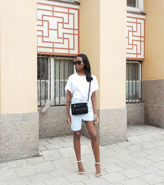 sylvie mus blogger shirt bag skirt shoes white top denim skirt sandals white sandals shoulder bag black bag frayed denim skirt