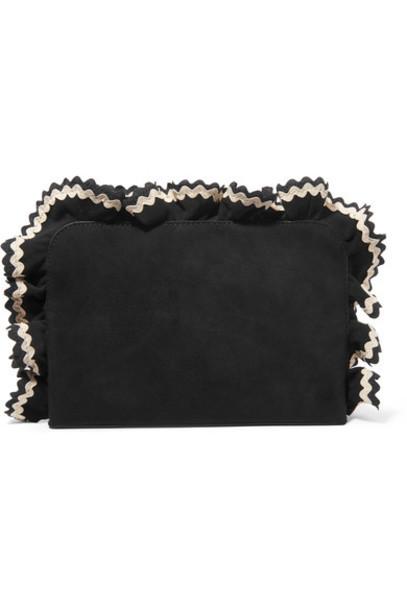 Loeffler Randall clutch suede black bag