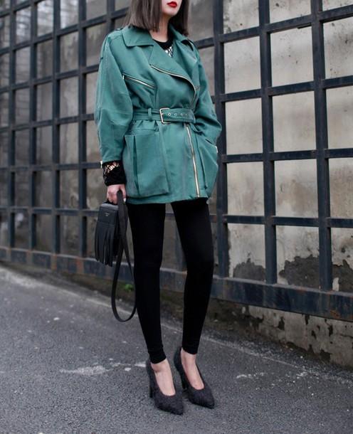 coat trench coat oversized parka green