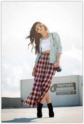 skirt,plaid,plaid skirt,90s style,grunge,tank top,burgundy