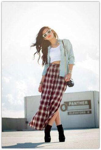 skirt plaid plaid skirt 90s style grunge tank top burgundy