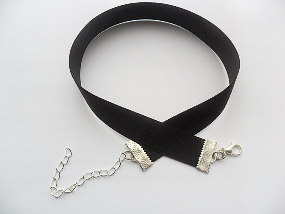 Satin choker necklace Black 5/8