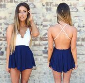 jumpsuit,romper,clothes,girly,dress,blue dress,open back dresses,style,summer outfits,summer dress,blue prom dress,white dress,fashion,diva style,bralette,skirt,cute dress,girly dress,blue and white backless romper,blue white dress,short,cut-out,blue,navy,white,lace,blue and white,summer