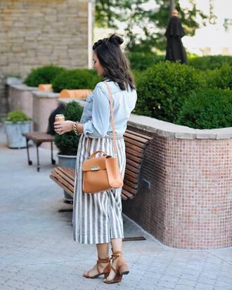 pants tumblr stripes striped pants culottes bag brown bag sandals sandal heels mid heel sandals shirt denim denim shirt shoes