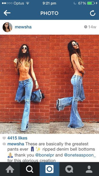 jeans bell bottoms ripped