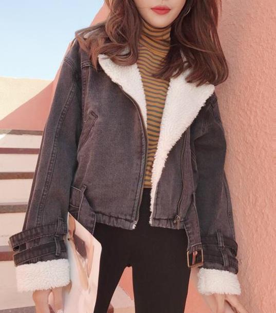 jacket girly fur fur jacket grey denim jacket denim