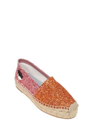 glitter espadrilles pink orange shoes
