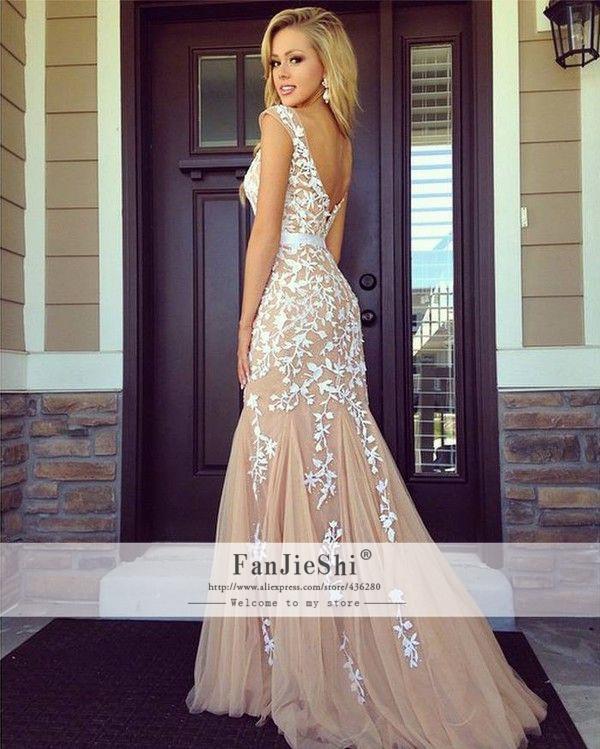 Aliexpress Buy 2015 New Elegant Vestido De Festa Cap Sleeve Floor Length Scoop Neckline Appliques Backless Hot Sale Sexy Mermaid Prom Dresses From