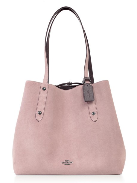 coach bag leather suede rose