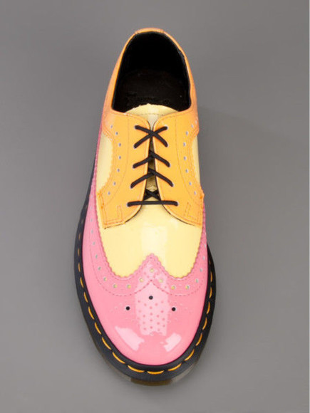 tangerine orange shoes ahoes boots pink yellow DrMartens low cut dressy unique