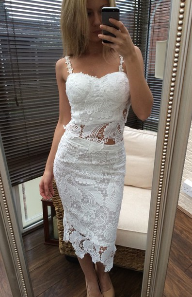 dress two-piece lace lace dress crochet lace top dress lace skirt