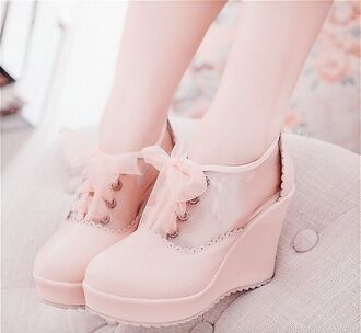 shoes heels ankle boots wedges ribbon lace up bows pastel pink kawaii pink korean fashion