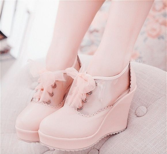 shoes high heels ankle boots wedges ribbon lace up bows pastel pink kawaii