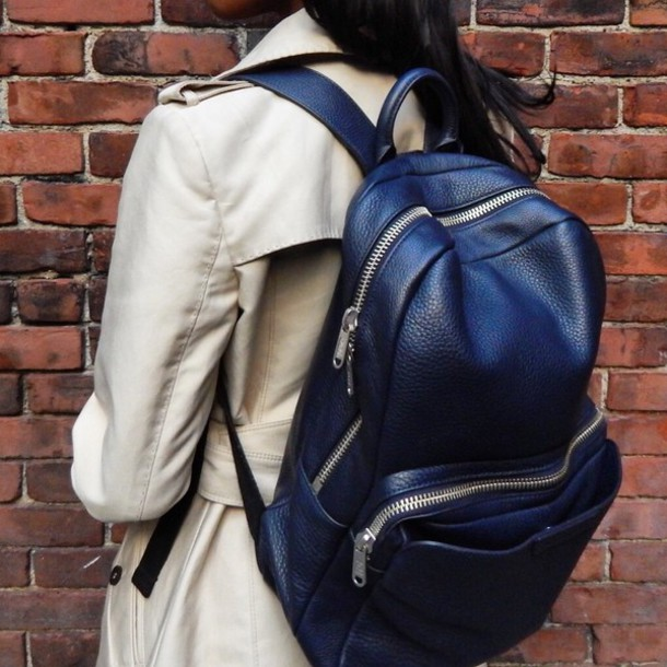 4eb121504eb bag blue dress backpack backpack back to school style spring jacket trench  coat zara marc jacobs