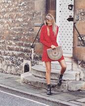 dress,red dress,handbag,beige handbag,boot,black booties,bag,shoes
