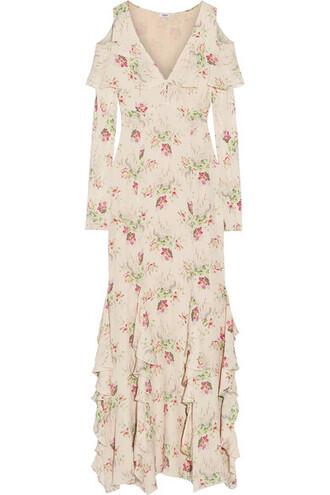 gown silk cream dress