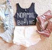 tank top,shirt,cotton,t-shirt,shoes,top,jeans,normal is boring,white shorts,high waistd,cute outfits,cute top,cute boots,brown boots,light-wash denim jacket,blouse