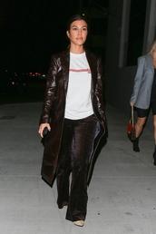 coat,kourtney kardashian,kardashians,pants,top,celebrity,fall outfits,trench coat