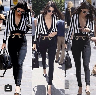 top v neck plunging top striped shirt