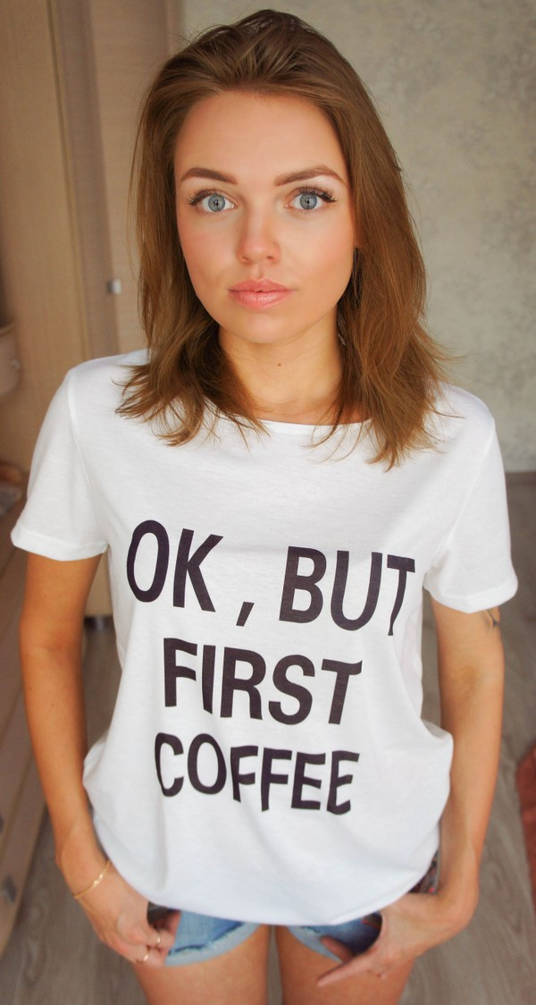 t-shirt 2016 hot sale ok women women t shirts summer top summer shorts white t-shirt band t-shirt letter t-shirts ok but firts coffee short sleeve casual t-shirts mens t-shirt punk
