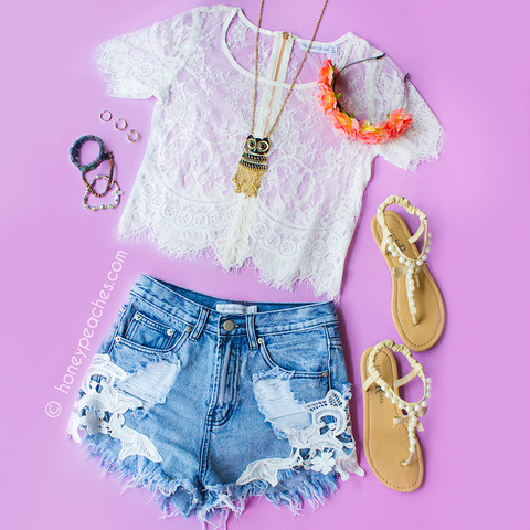 Summer days lace crop top