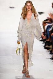 dress,diane von furstenberg,maxi dress,front slit