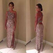 glitter dress,prom dress,dress,gold dress,sequin dress,formal dress,low back dress,long dress,one shoulder,campagne,purple dress