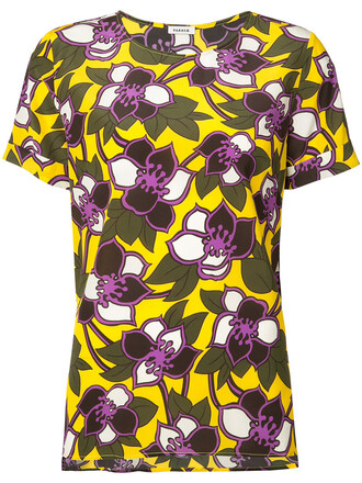 top short women floral silk yellow orange
