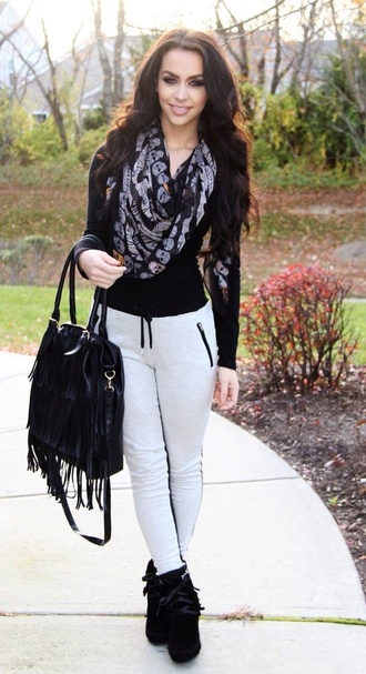 pants carly bybel black shoes shoes high heels scarf black top grey sweatpants black bag grey and black pants sweatpants