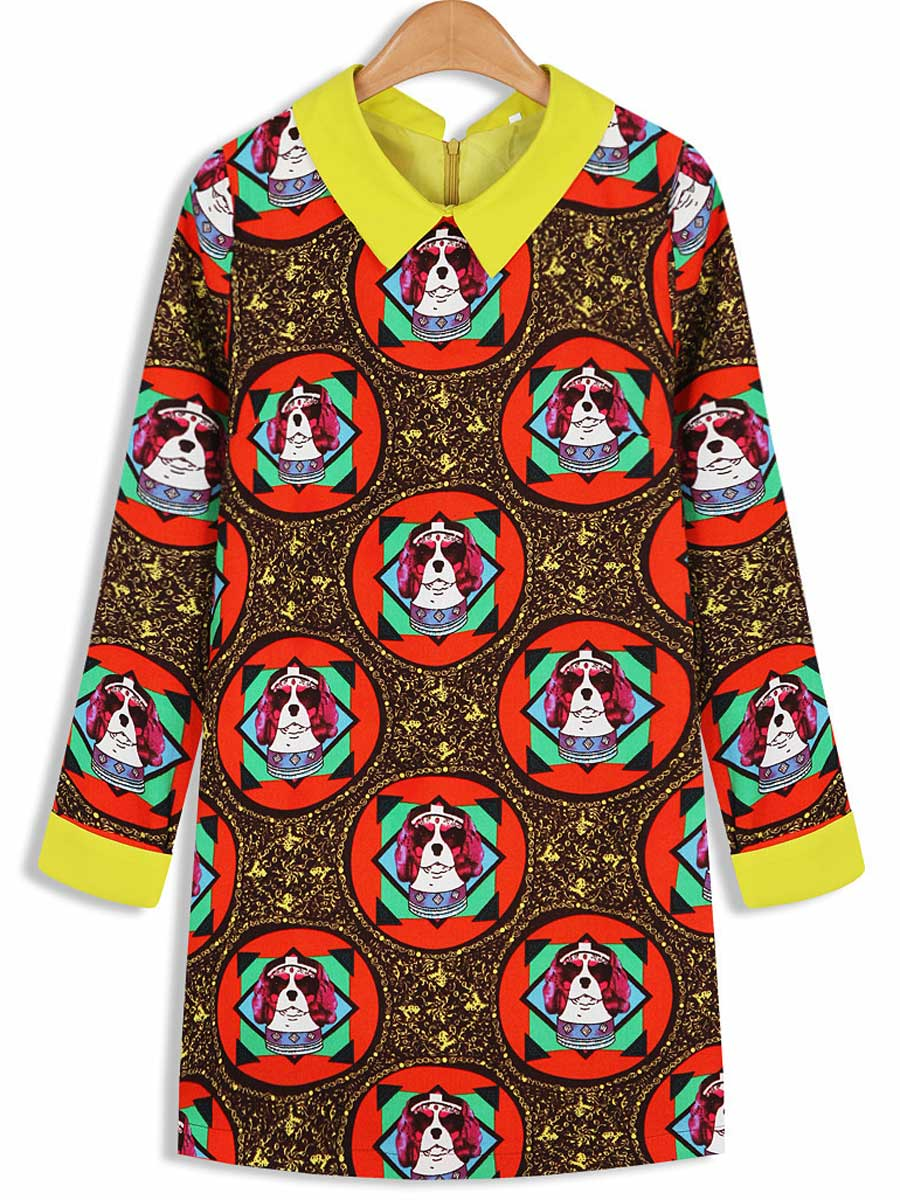 Cool Doggy Print Dress with Collar [FXBI00621] - PersunMall.com