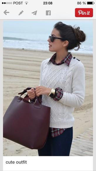 bag tote bag fashion tote bag burgundy simple big purse