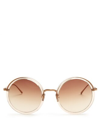 oversized rose sunglasses gold brown