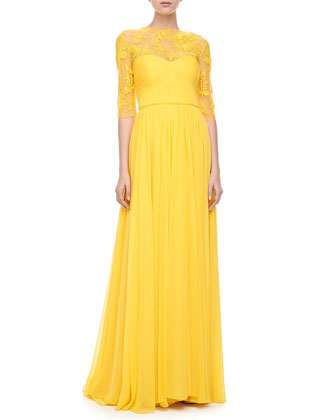 Monique Lhuillier Illusion Embroidered Gown, Yellow  - Neiman Marcus