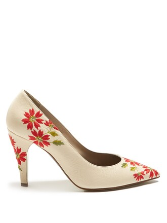 embroidered pumps floral leather beige shoes