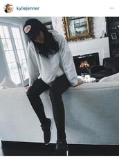 kylie jenner,sneakers,white sweater,leather pants,black sneakers,snapback,keeping up with the kardashians,grey sweater,shoes,sweater,hoodie,oversized sweater