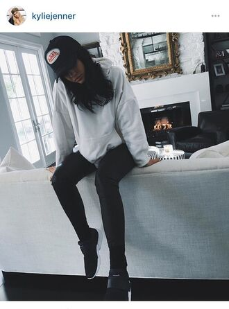kylie jenner sneakers white sweater leather pants black sneakers snapback keeping up with the kardashians grey sweater sweater shoes hoodie oversized sweater