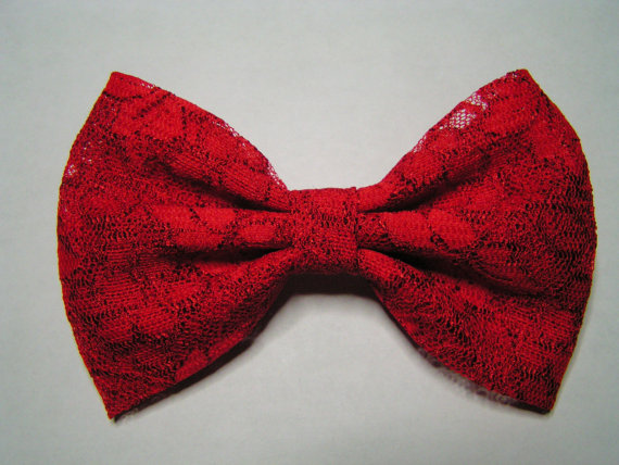 Red lace hair bow clip kids hair bows teens by clipabowboutique