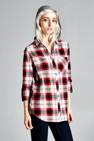 shirt divergence clothing red flannel shirt red flannel jacket flannel flannel shirt grunge soft grunge boutiques online boutique boutique like nasty gal boutique like red dress boutique fall outfits 28719