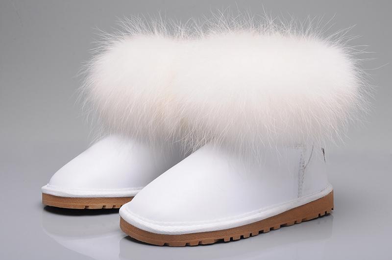 UGG® Australia Boots UK Women's Fox Fur Mini 5854 White Sale Online